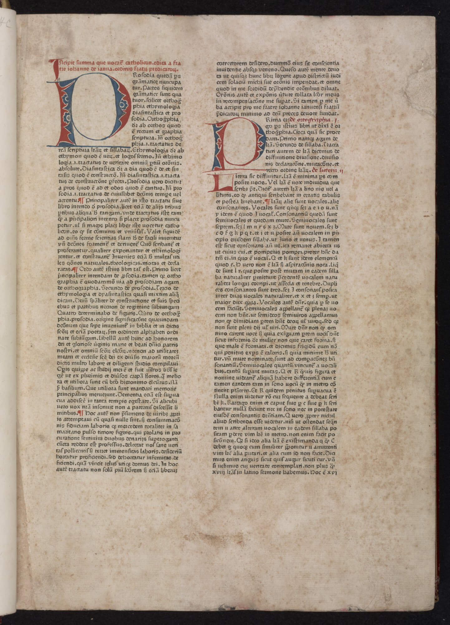One of the first books to be printed, the 1460 Catholicon continues to be surrounded by uncertainty about exactly who made it and what processes were used. Although it was once assumed that Gutenberg printed the book, that is now doubted. And recent theory is that the book was not printed with individual pieces of movable type, but with cast two-line slugs of type, thus explaining the near exact later impressions printed in 1469 and 1472.