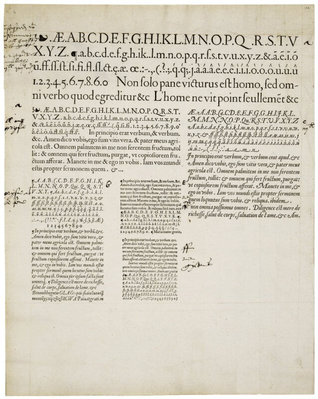 Specimen sheets are used by type-casters to show examples of the fonts they have for sale. This one shows work from François Guyot, a type-caster in Antwerp, and was used to sell his wares in England, as evidenced by the manuscript notes in English secretary hand. Careful sleuthing comparing these typefaces to those used in dated texts and to surviving records from the Plantin printing shop identified Guyot and the likely date of 1565. For more on those details, see this post from the Folger's