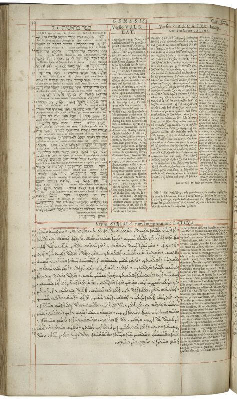 "An example of a ""polyglot"" Bible---a Bible printed in its earliest languages and translations. On this leaf you can see texts in Hebrew, Latin, Greek, and Syriac, each in their own place and separated by hand-drawn red ruling."