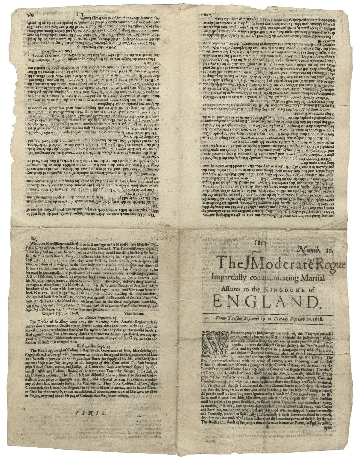 This issue of an English newsbook has remained uncut and so shows us its quarto imposition as the pages would have been laid out when printed.