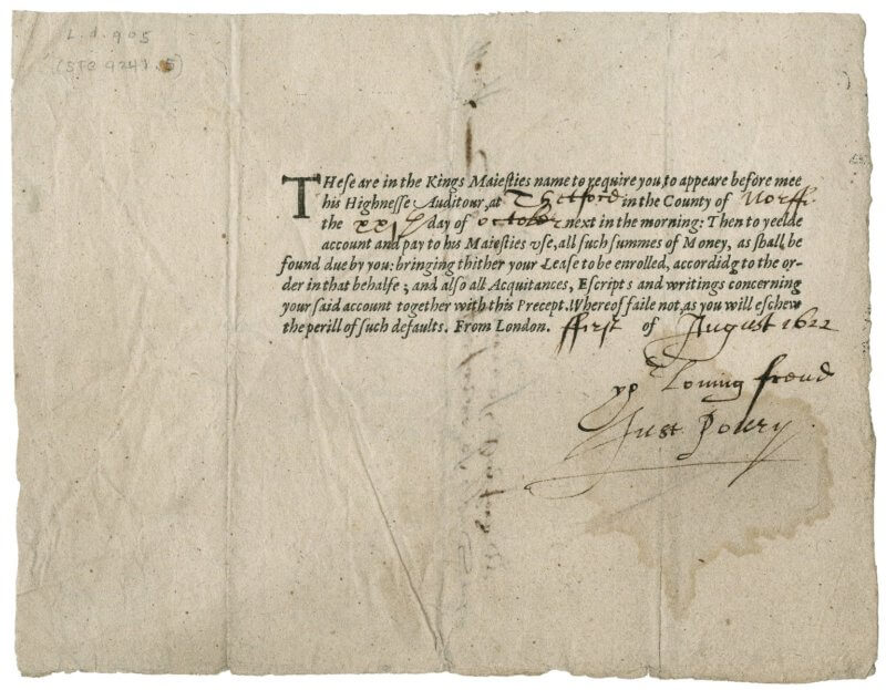 This summons to appear before the King's exchequer is a typical printed form---the parts that are the standard formula are printed, while the specifics of dates and places are filled in by hand.