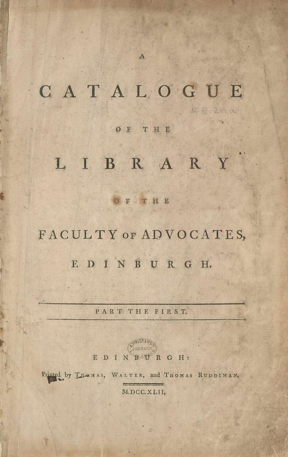 The Advocates' Library kept a collection of books (law and otherwise) since the Faculty's inauguration in 1689. This series was the third such catalog of books in the library, and as can be seen in the interior pages, was used to record not only the acquisition of books, but their changing shelfmarks.