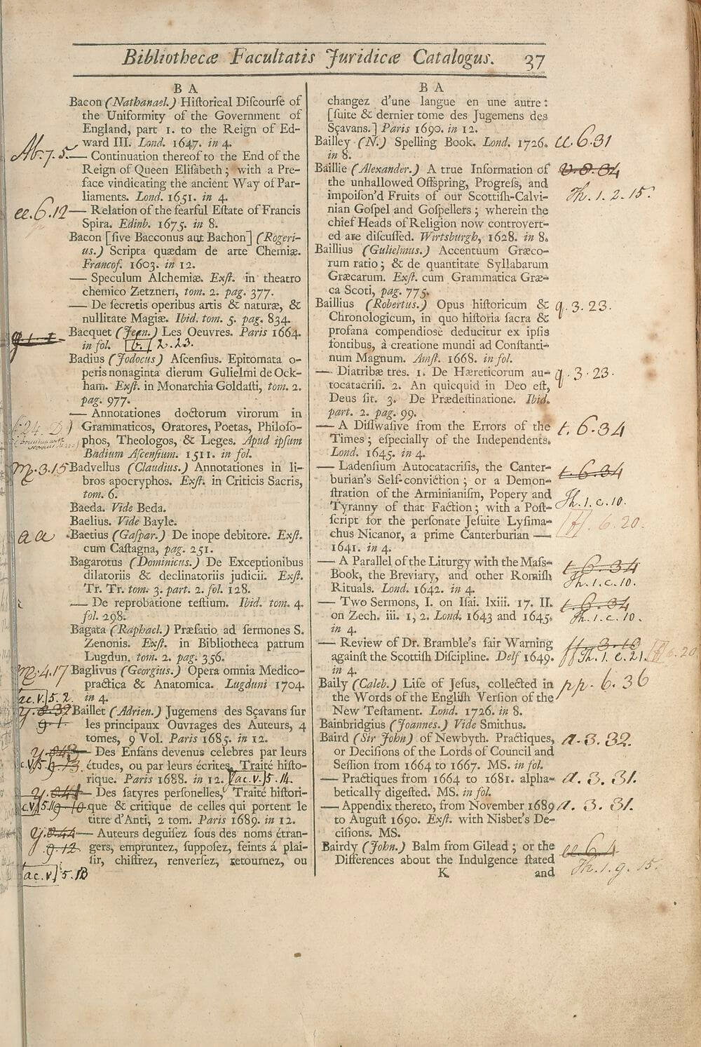 This was a working catalog for the Advocates' library, and the shelfmarks for the books were added and updated throughout its active life.