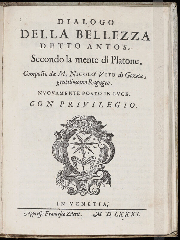 """This title page showcases the Ziletti printer's device, a comet and seven stars with their motto """"inter omnes"""" (""""among all""""). Here Francesco Ziletti uses the device of his uncle, Giordano Ziletti, but with his own spin -- most noticeably, the inclusion of two upside-down topless women who were not present in Giordano's works."""