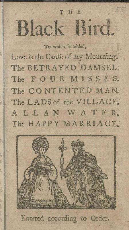 The title page to this small chapbook lists the 8 ballads printed therein along with a decorative woodcut.