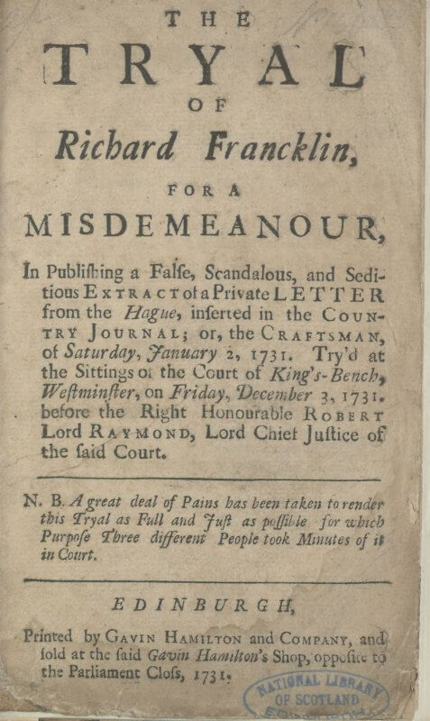The 1731 imprint date suggests that the publication of this chapbook followed almost immediately after the conclusion of the December 3, 1731 trial. Chapbooks like these---small unbound pamphlets---were a prime source of news as well as entertainment.