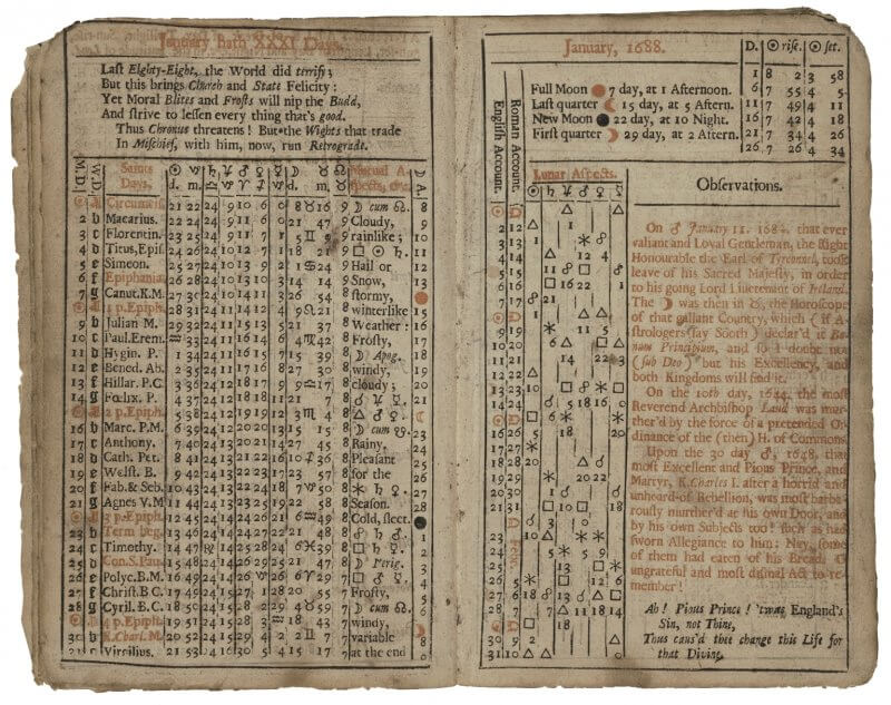 "Although many printed almanacs left space for users to add in their own notes, Gadbury here adds in a block of red text labeled ""observations"" a brief account of recent historical events."