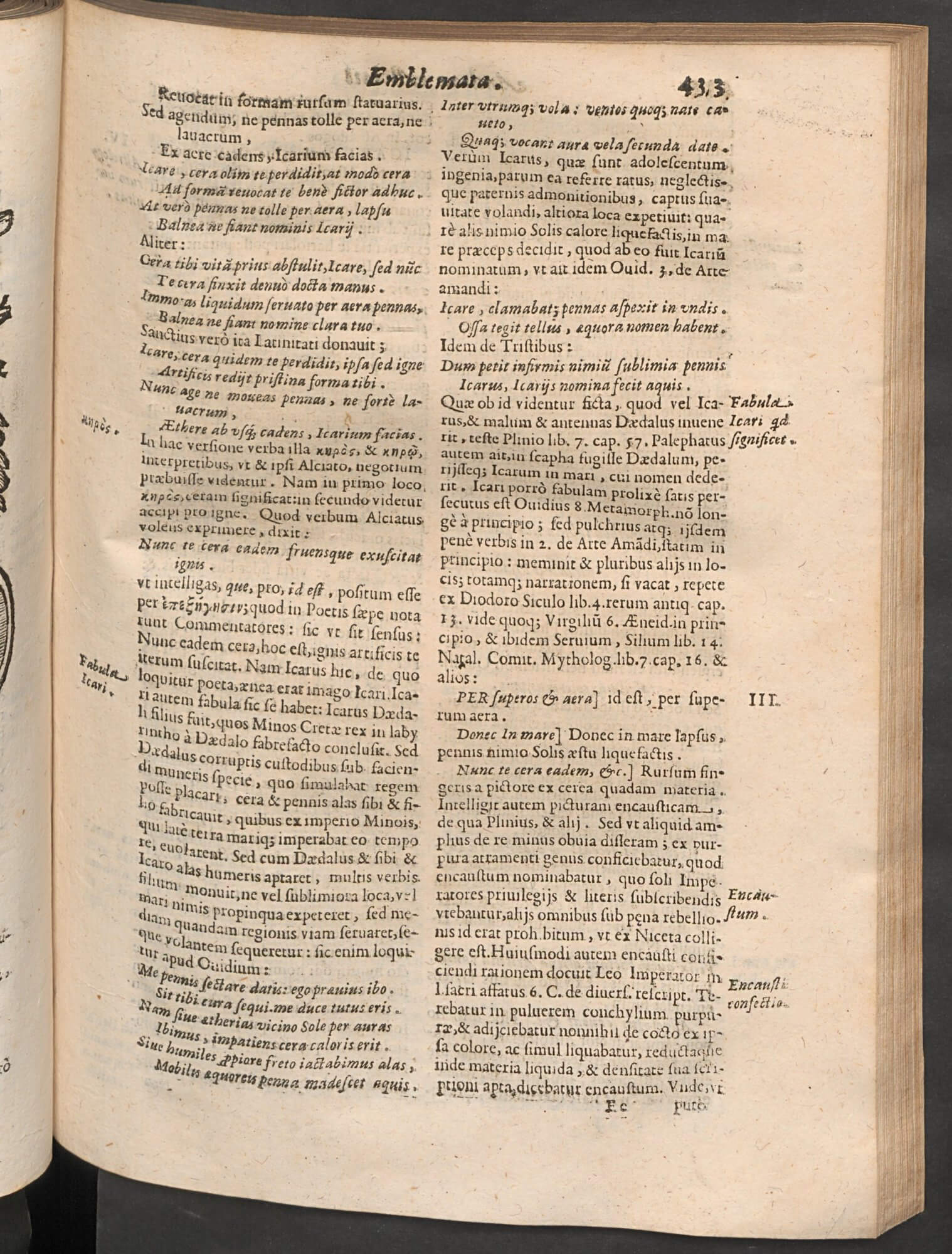 "This is the first of five full pages of commentary on Alciati's emblem ""In astrologus""---a marked expansion from its first appearance in print in 1531."