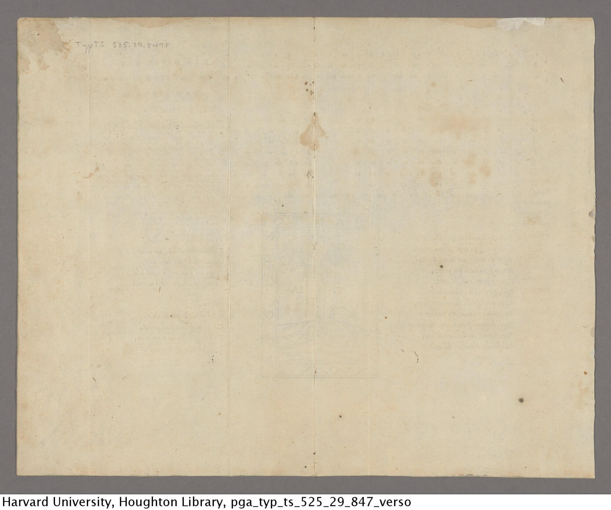 There is very little bleed-through apparent on this blank verso, although it's hard to tell if it is due to how this broadsheet was printed or how it was photographed.