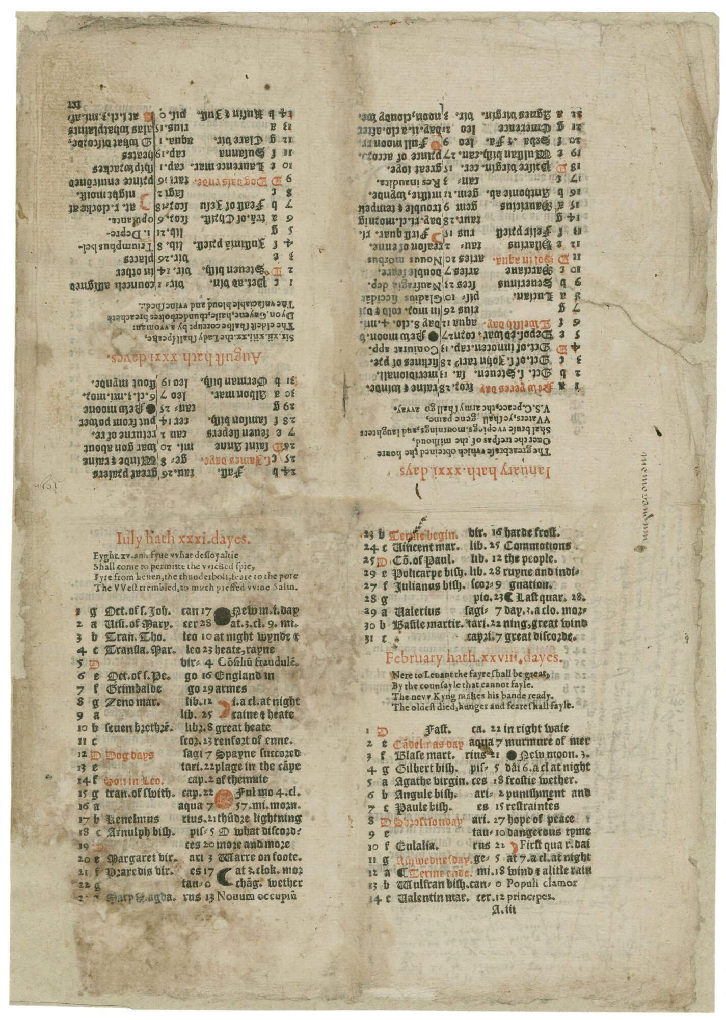 Unlike later almanacs, this continues one month on after another, rather than giving each month its own page or opening. If you look at the top right page, you'll see the start of January, which continues onto the bottom right page.