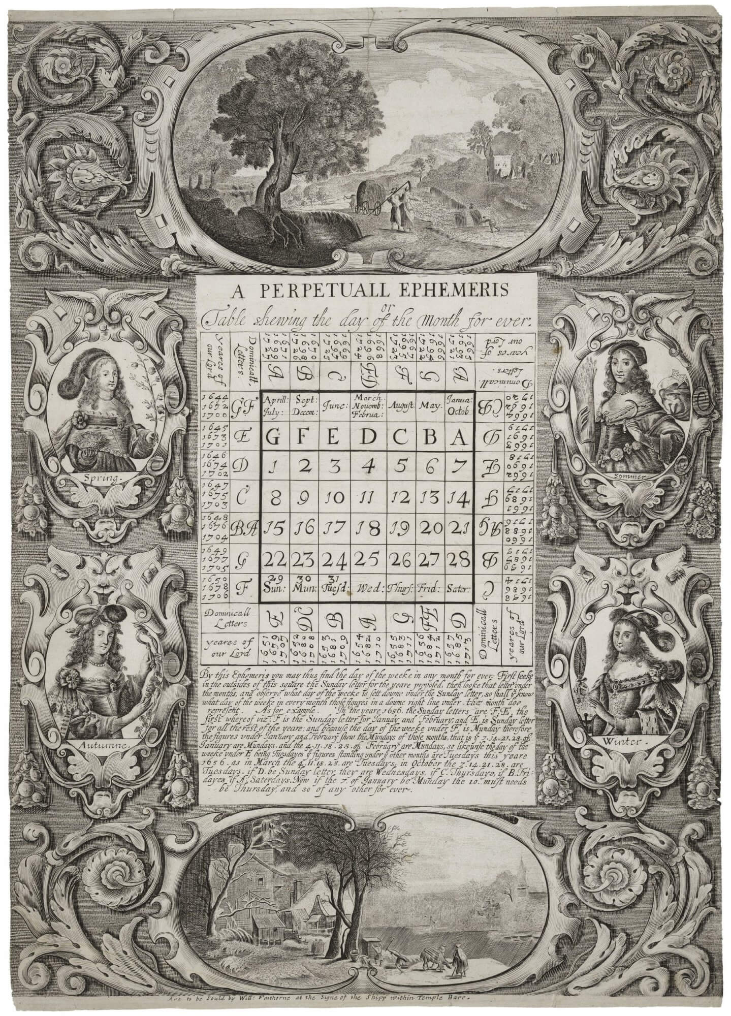 """Although engraved and etched plates in books tend to be primarily of images, intaglio techniques can also be used to write text, as in this perpetual calendar. For more on how this calendar works, see Erin Blake's post """"Happy New Year's E"""" in The Collation."""