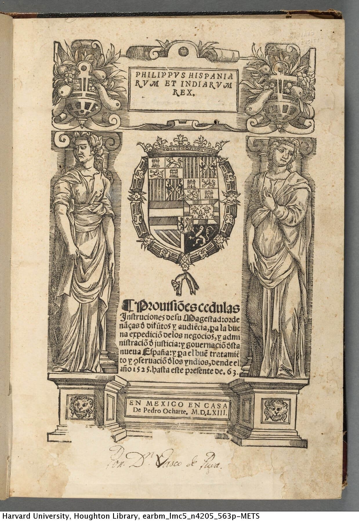 The title of this collection of Spanish colonial laws is surrounded by four separate woodcuts used as borders, as well as a cut of the Spanish coat of arms.