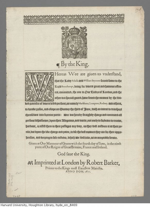 This broadside uses gothic type (or black letter as the English often called it) for the main text of its announcement, as is typical for official English documents, with roman type setting off the names of the escapees.