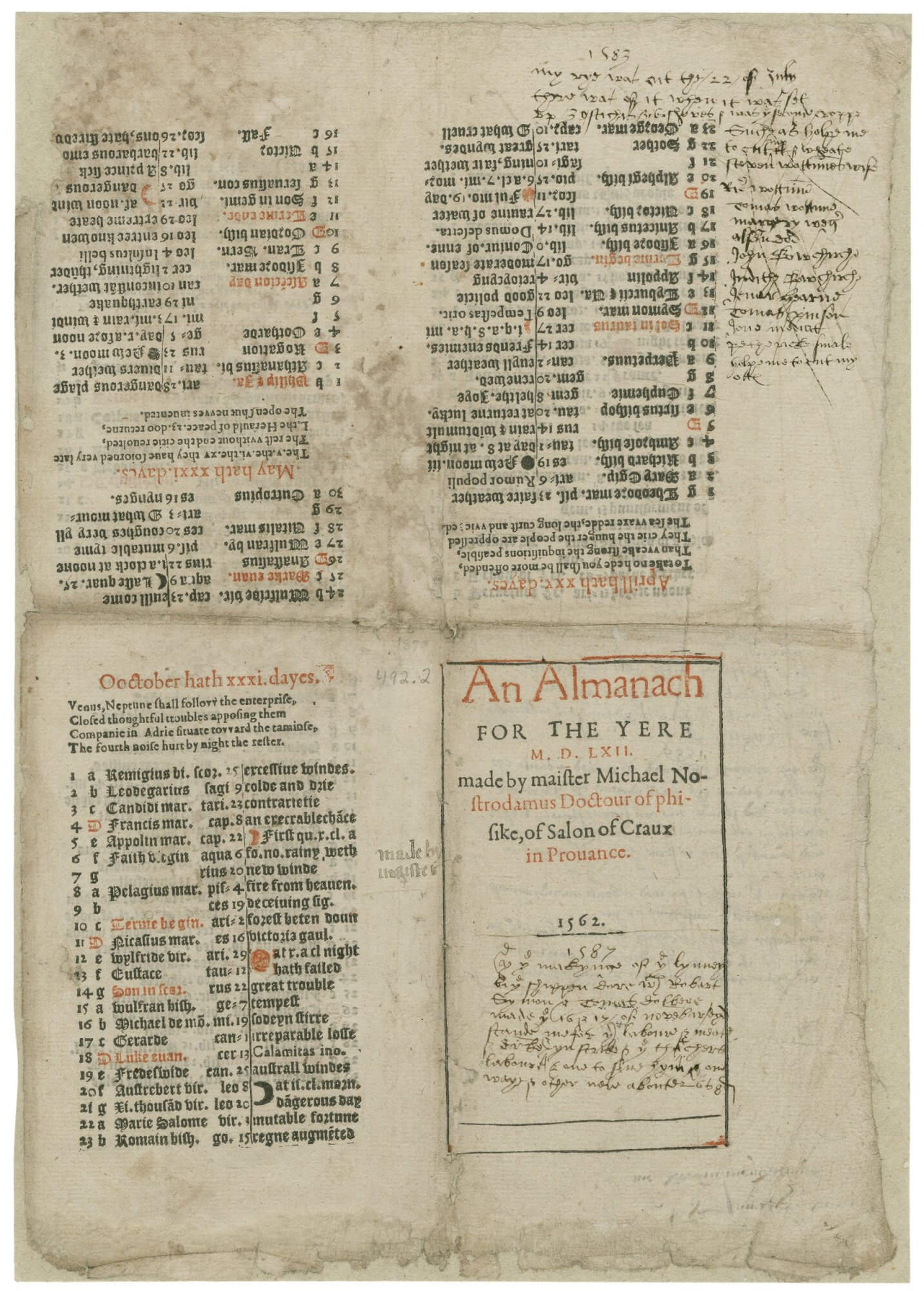 This almanac gives evidence of two things we don't often get to see: it barely survived and it's covered with manuscript notes from other dates. Although it's hard to discern from just this one image, this is one side of a half of a sheet that was imposed as an octavo (the other images from this sheet can be seen here). The sheet itself was torn along what is here the left edge, probably after it was weakened by years of folding. But even then, the almanac is incomplete, ending in October since the second sheet is now missing.