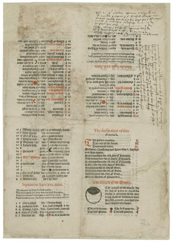 "One of the benefits of looking at this unopened sheet is seeing how the use of red ink calls attention to specific dates and moon phases as well as serving to differentiate sections of the text. Our use now of the phrase ""red-letter day"" comes from the practice of using red ink to indicate festivals, a practice that originated in manuscripts."