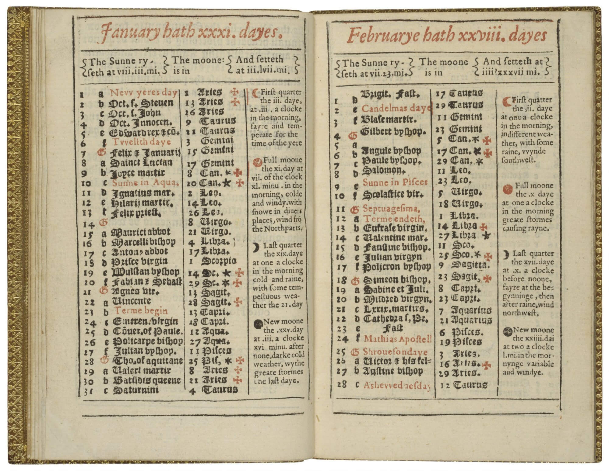 This almanac prints the months on individual pages rather than a two-page opening, as become more common in later decades, but a lot of information about astrological bodies and calendar dates is still fit in across the columns.