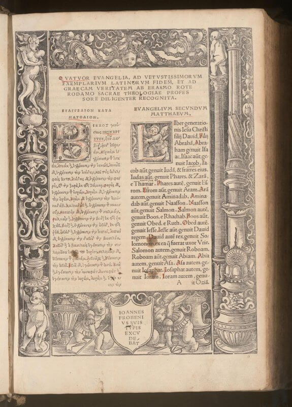 Erasmus's translation of the Bible from Greek into Latin is appropriately presented in two parallel columns. Here, the initial page of his New Testament is set off with woodcut borders; the following pages are plain columns of text.