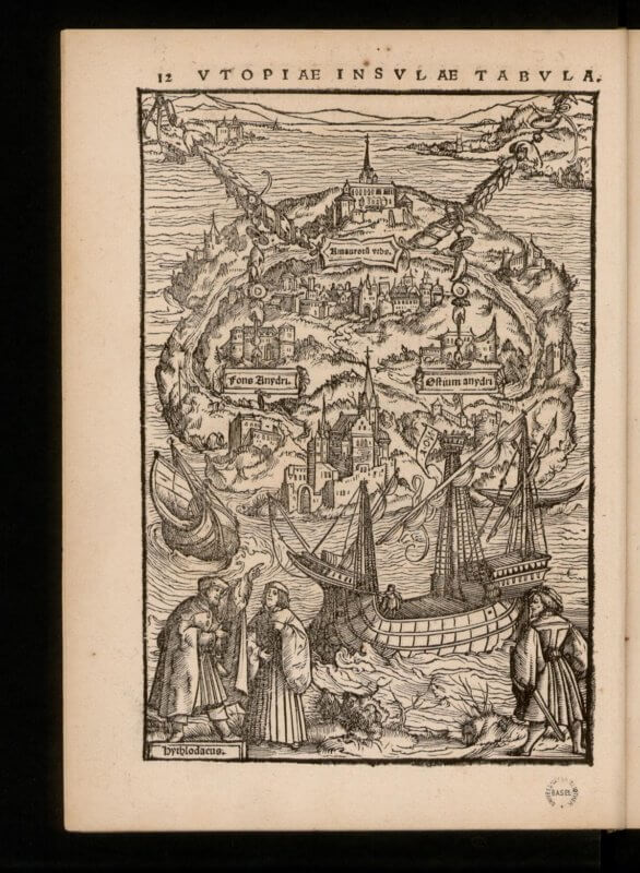 This famous illustration of Utopia appears in the earliest edition of the work, but like other preliminaries, its location in the book shifted in various editions.
