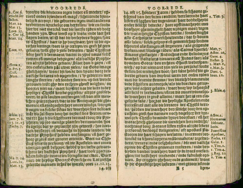 In this densely printed opening, you can see printed marginal notes used as references to the Bible.