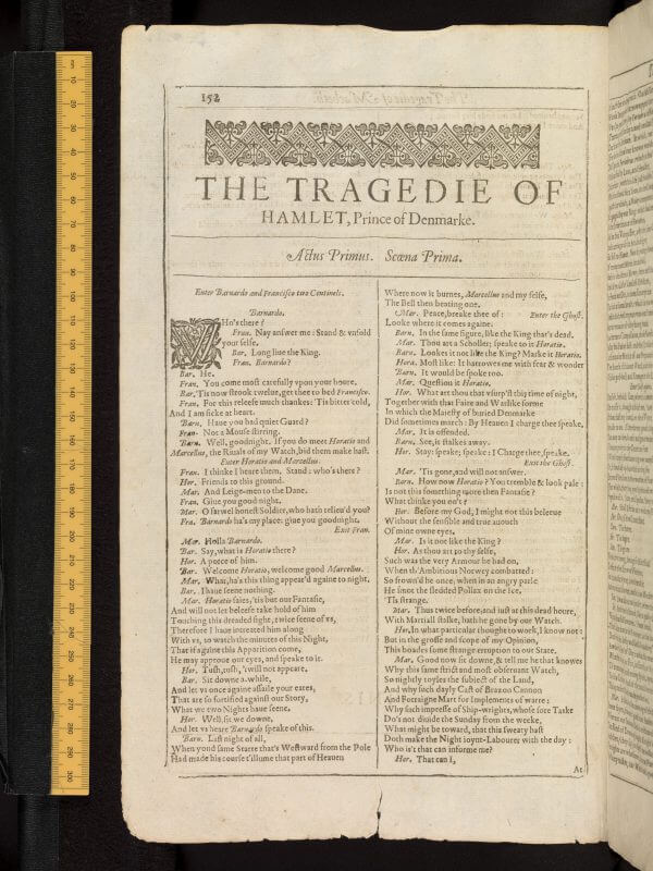 The opening of Hamlet in Shakespeare's First Folio; like the rest of the plays in this book, the start of the play is marked off with a headpiece and an initial letter.