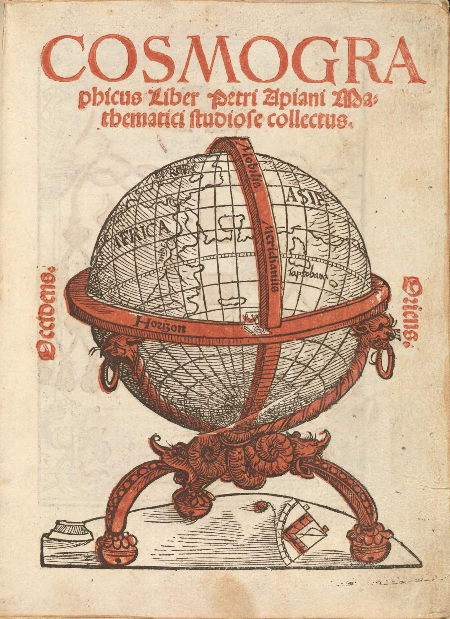 This title page for the first edition of Peter Apian's Cosmographicus has been printed in both black and red ink.