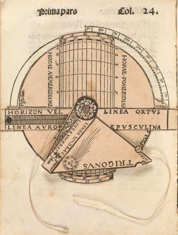 With this 4-part movable diagram from Apian's Cosmographicus, the user can practice a series of complicated calculations, including latitude, the times of sunrise and sunset, the duration of dawn and dusk, and the height of the sun.
