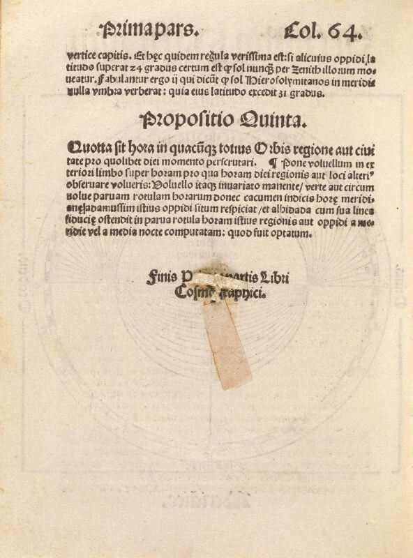 In this middle of this page, and obscuring some text, is the string and paper securing the discs of the volvelle on the other side of this leaf.