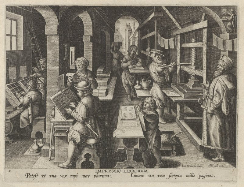 In this illustration from the series The Inventions of Modern Times, you can see the full range of activities associated with common-press printing, from delivering blank paper to proofreading printed sheets.