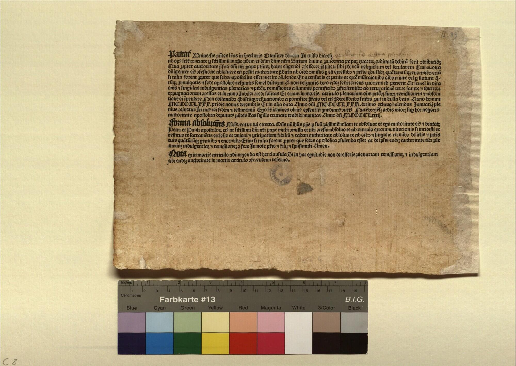 """This form is an indulgence granted for """"promoting the war against the Turks,"""" in a variant designed specifically for women. The handwritten portion in the upper right corner fills in the name of the recipient, Cristina Schuczin, and her diocese, Bamberg. Indulgence forms like this one, combining print and manuscript elements, were some of the first widespread uses of printing in the Middle Ages."""