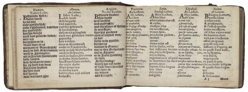 The odd shape of this book (little and oblong) comes from its contents (seven columns of dialogues in different languages) and its use (a pocket-sized volume for travelers).