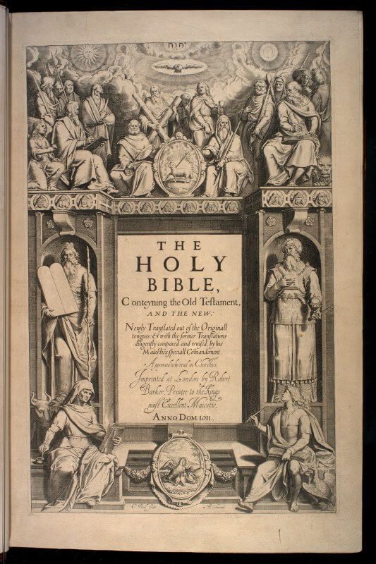 The title page for the Authorized version of the Bible is completely engraved, including the title and imprint information, by Cornelius Boel, whose name appears in the bottom left of the image. (This version is more commonly known as the King James Bible, since James authorized it to be translated and placed in all churches.)