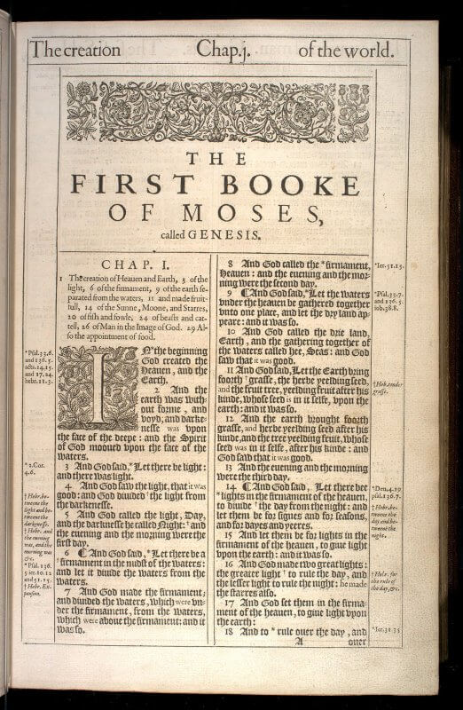 The King James Bible uses a complex typography to signal which words or phrases are not from the source material but have been added in translation (those in roman type), printed notes in roman type for cross referencing between different books, printed notes in italic for translation notes, and headnotes for each chapter providing summaries to help with quick navigation.