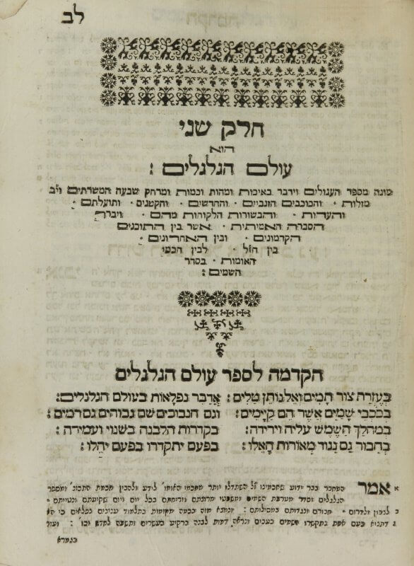This decorative chapter title showcases several sizes and weights of Hebrew type. The use of both elongated and regular forms of several letters, including ה (he), ת (tav), and ם (final mem), is particularly visible in the triangle of text at the top of the page. Stretching letters with horizontal lines was a common convention in Hebrew printing used to justify lines.