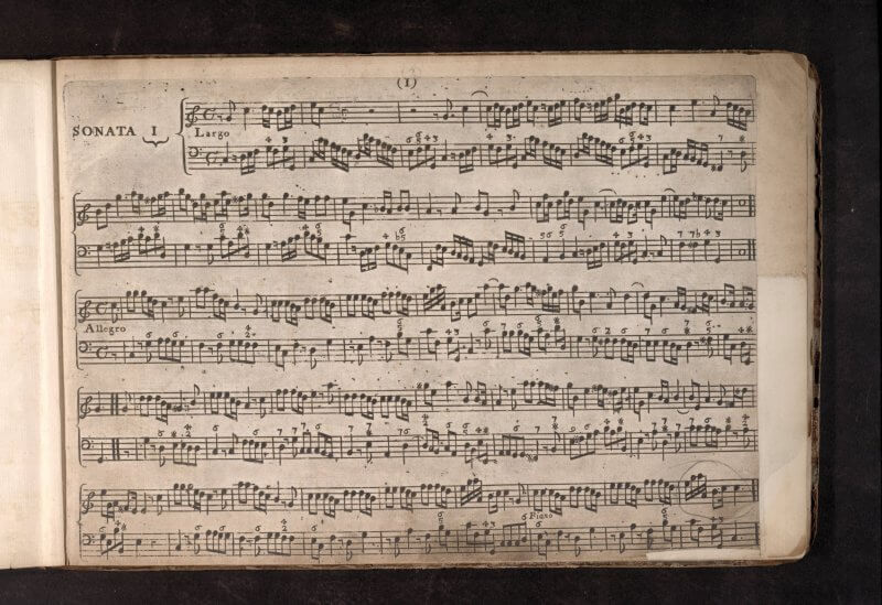 In this collection, the music is printed with copper plates in an oblong format---making for clear lines of the two staffs of music.