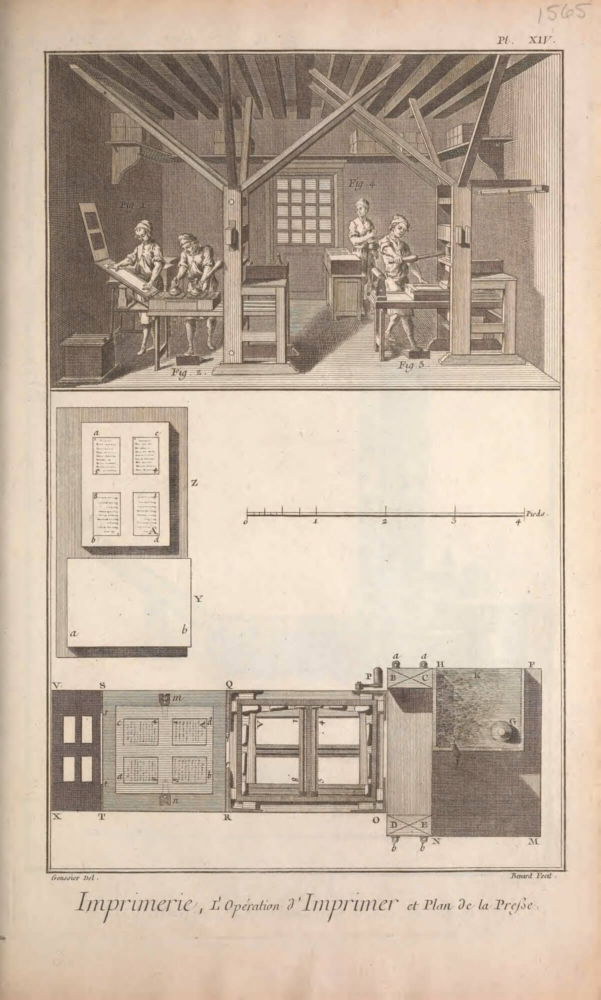 An illustration of a pressroom: on the left the paper is being placed on the tympan while the type is being inked; on the right a separate press is being pulled while the beater works the ink in the background. At the bottom of the page is a top-down view of the press showing how a quarto imposition looks on the press stone and how it is inked on the paper held on the tympan.
