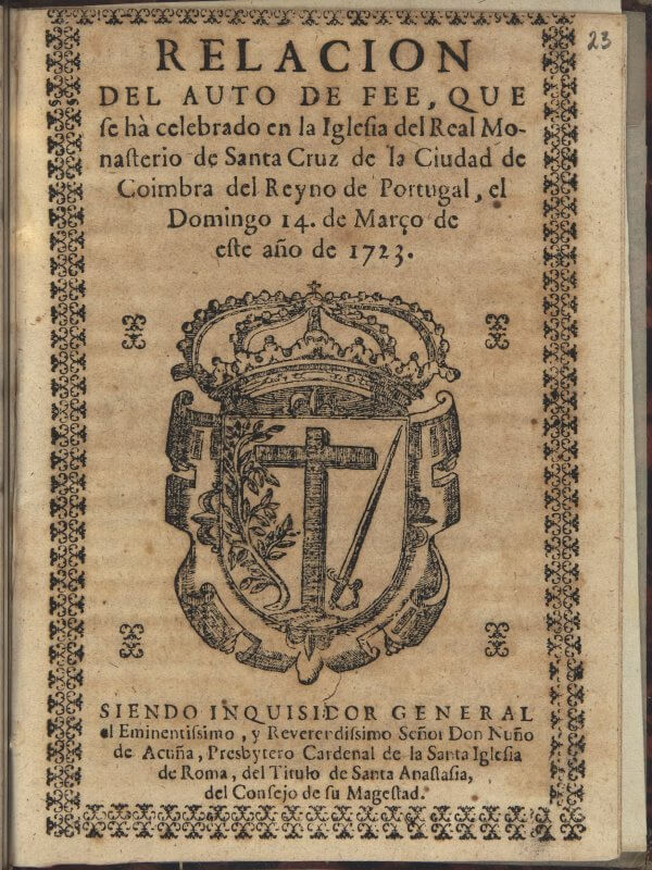This account of people tried as heretics includes, in place of a printer's device, the device of the Inquisition.