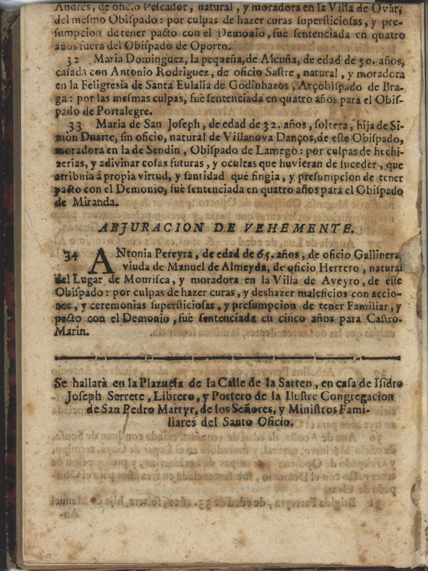 This 8-page octavo pamphlet ends with the colophon for the printer working for the Office of the Inquisition.