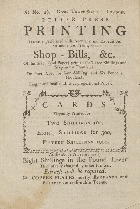 This ad selling letterpress printing to the public appears on the back of a title page; the book lacks an imprint statement, and the shop location given here allows researchers to suggest a time-frame for the book's publication.