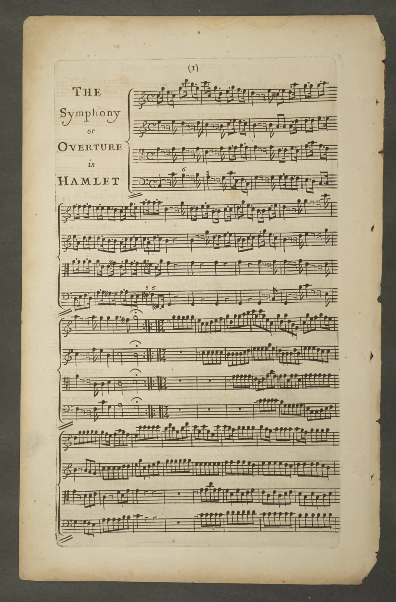 This (now disbound) page from an opera of Hamlet shows clear marks from the copper plate used to print the music.