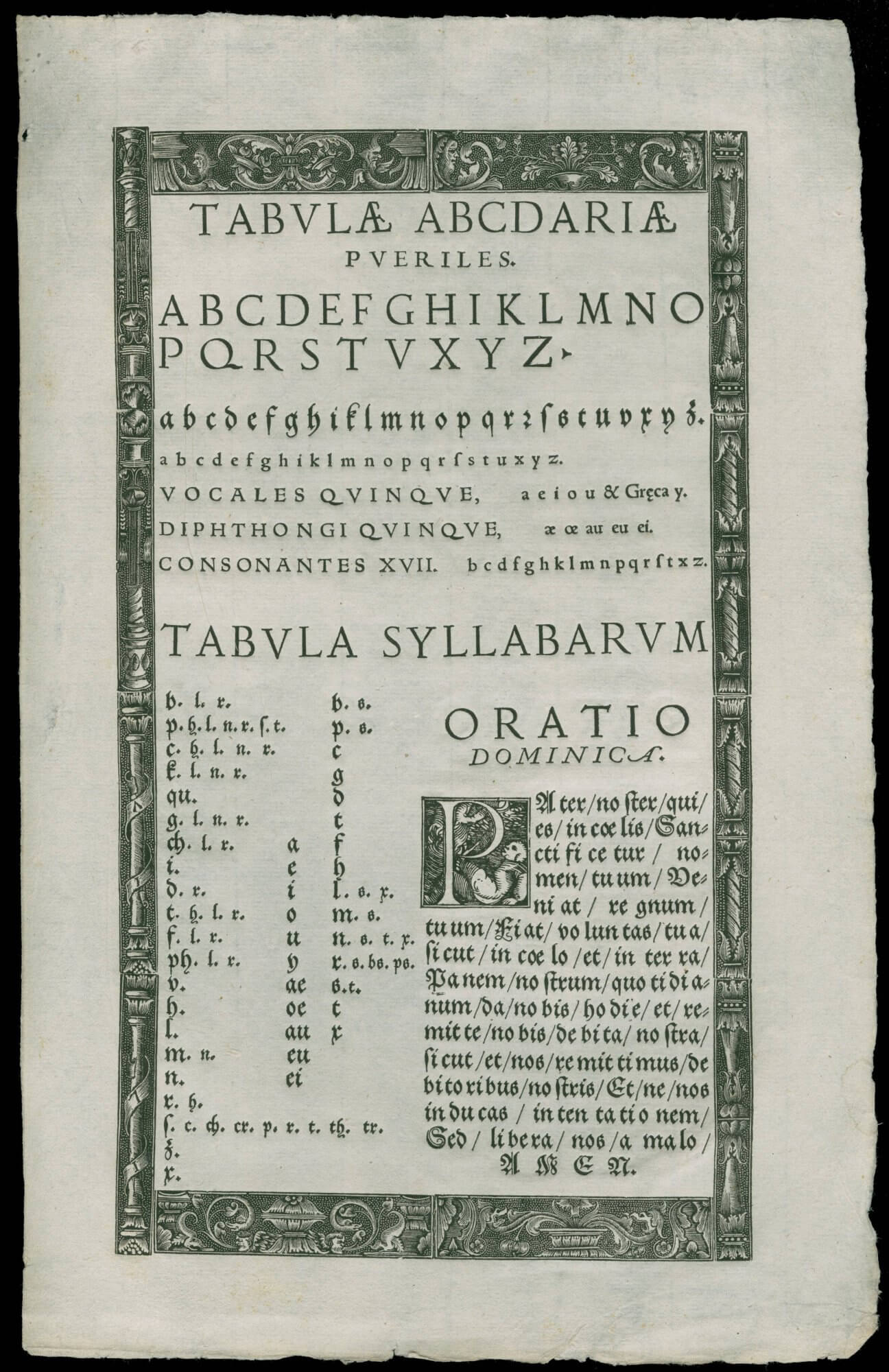 Children were often taught to read by printed examples of the alphabet and the Lord's Prayer. This sheet is one of the earliest surviving lessons (probably because, as its appearance suggests, it was never used). Although there is no imprint statement on the sheet, the blocks used in the border were also used by Valentin Bapst in the late 1540s, suggesting that he is this work's printer as well.