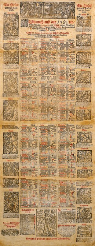This almanac was printed as a single sheet; the damaged sections running across the sheet suggest that it was stored folded for a long period of time, probably helping ensure its survival.