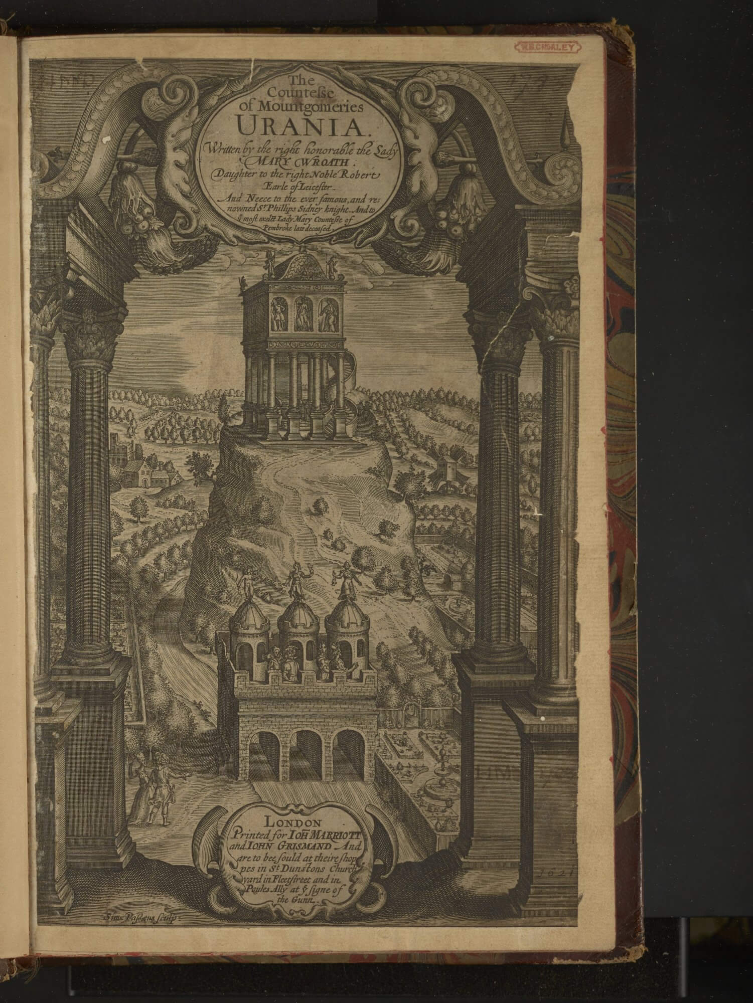 """This title page for Wroth's prose romance is entirely engraved, from the illustration to the title above and the imprint statement below. At the very bottom of the page, on the left, is the engraver's name, """"Sim. Passaeus, sculp:"""""""
