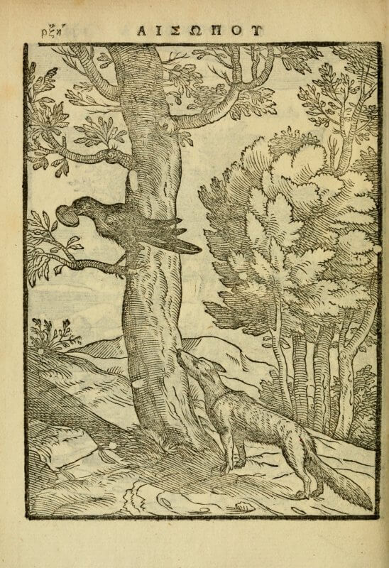 A woodcut illustrating Aesop's fable of the fox and the crow, which in this book is printed to face the illustration (you can see the text here).