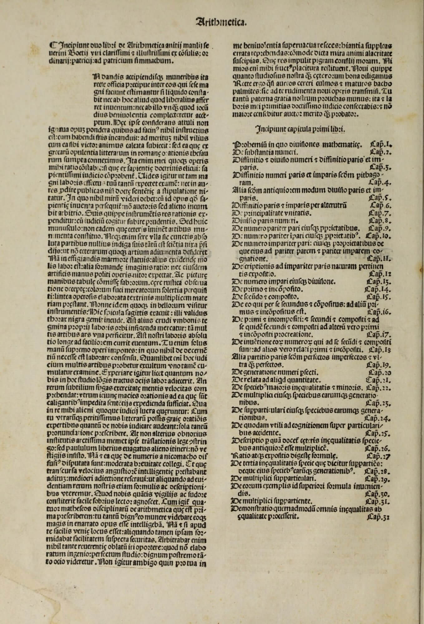 """The text of this edition begins """"Incipiunt duo libri de Arthimetica"""" but the title of the book is taken not from this phrase, but from the title label on the previous page. The space for the initial letter, like others in this volume, has been left unfilled."""