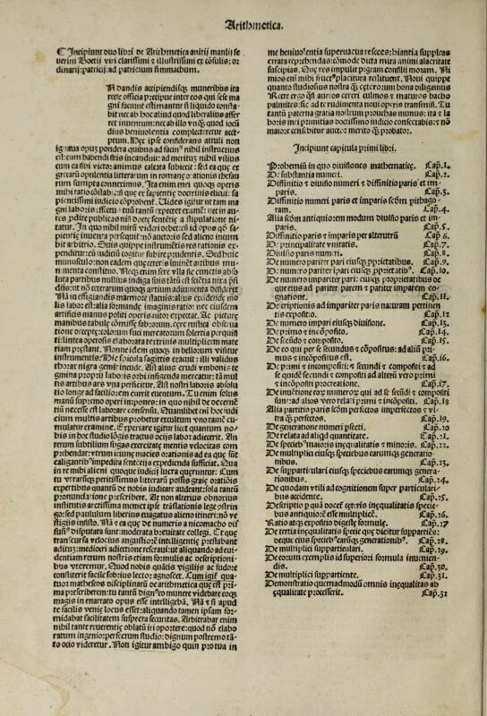 "The text of this edition begins ""Incipiunt duo libri de Arthimetica"" but the title of the book is taken not from this phrase, but from the title label on the previous page. The space for the initial letter, like others in this volume, has been left unfilled."