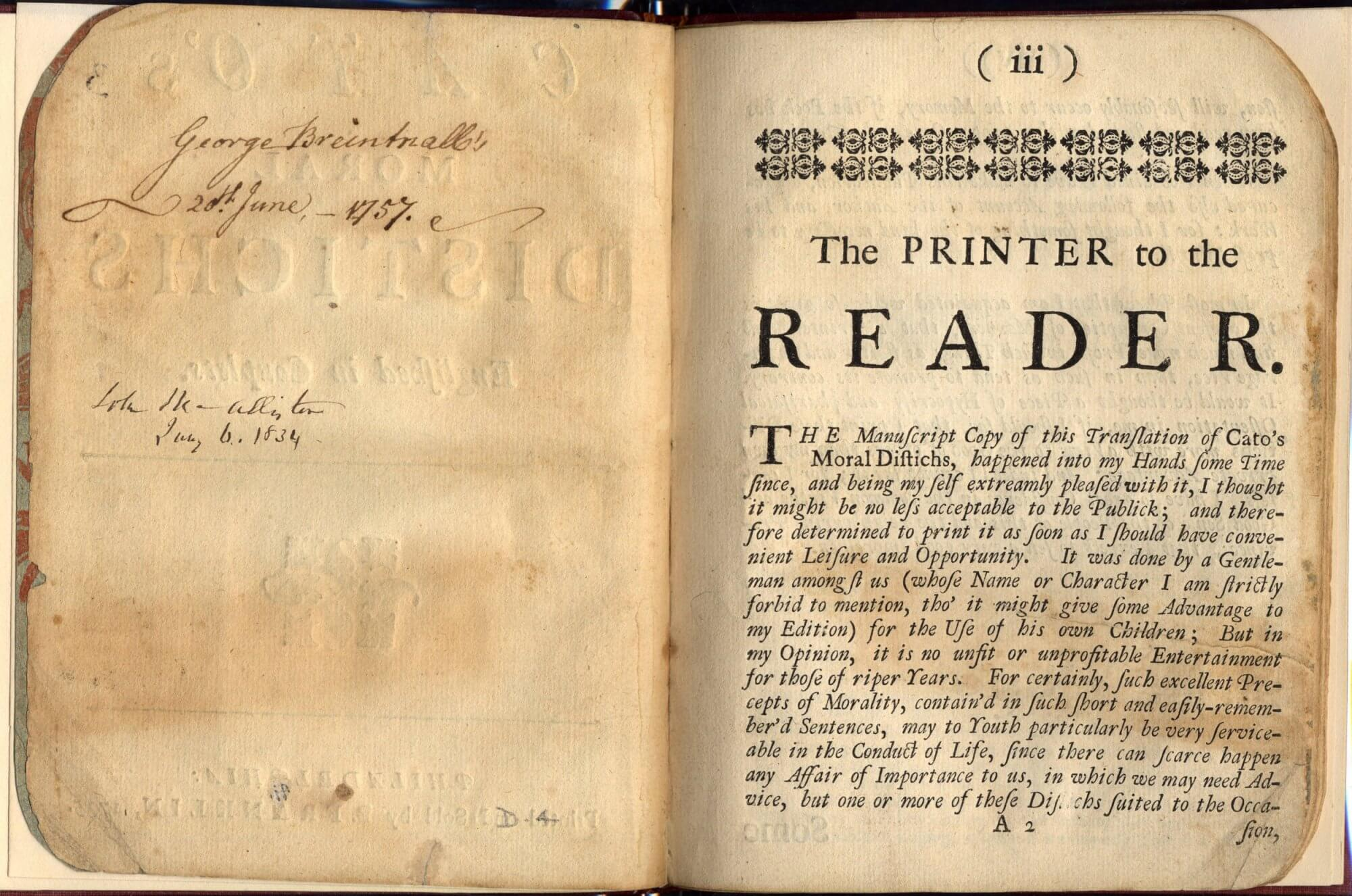 On the blank page shown here, you can see the raised letters from the impression of the type used for the title page.
