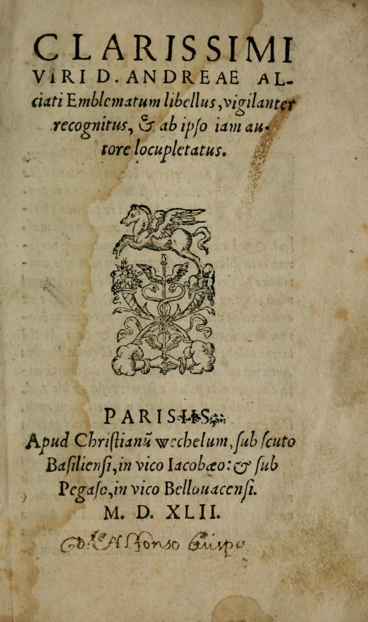 """Chrestian Wechsel's printer's device is here fittingly shown on the title page of his edition of Alciati's Emblemata, which he printed in close conversation with the author. The device is adapted from the emblem """"Virtuti Fortuna comes"""" or """"Good fortune attendant on virtue."""""""