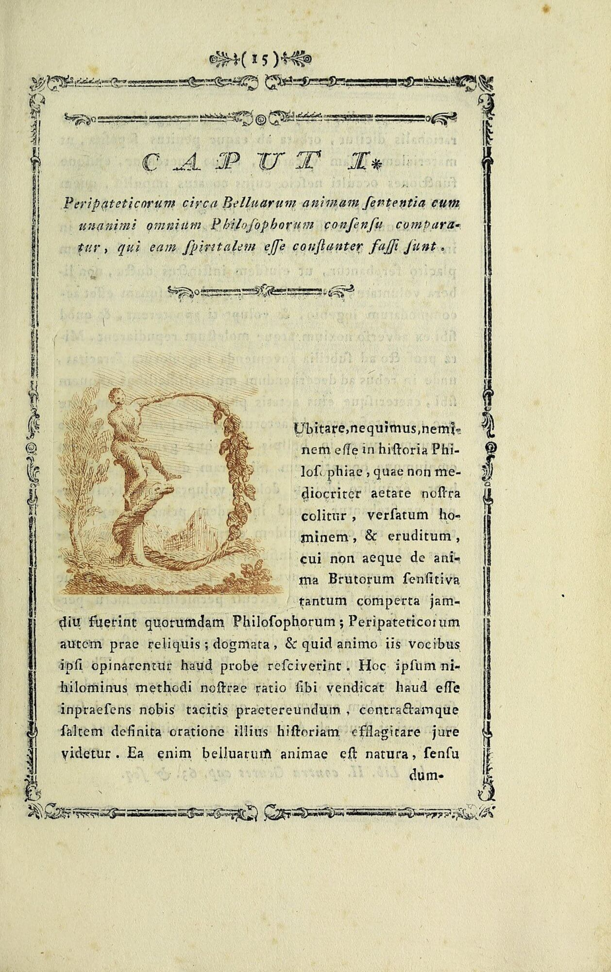 The opening of each chapter in this book features intaglio initial letters, the colors of which vary from copy to copy. In this copy from the Smithsonian, an ochre ink is used, but in the Getty's copy, the initial letter is printed in blue.