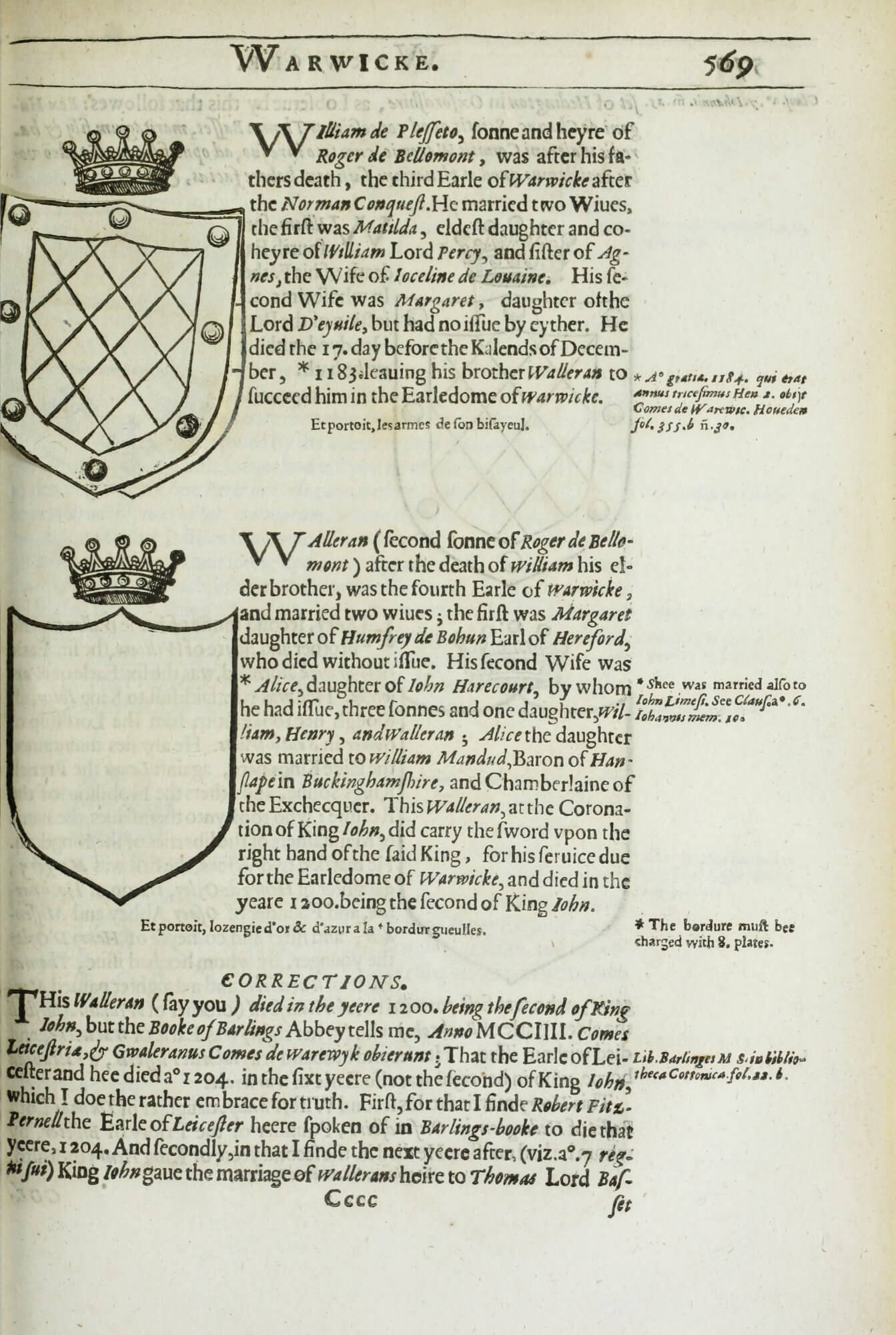 A cancel slip has been pasted over the top coat of arms to correct it; in this copy, the slip is slightly askew, making it easy to spot.