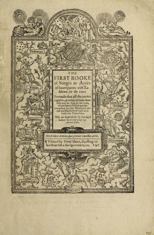A woodcut title page for John Dowland's collection of songs.
